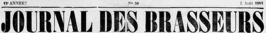 Titre du journal des brasseurs du nord du 5 aout 1183