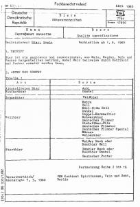 Spécification des bières en RDA dans les années 80